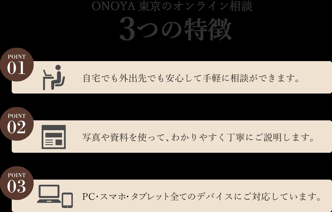 ONOYA東京のオンライン相談の特徴